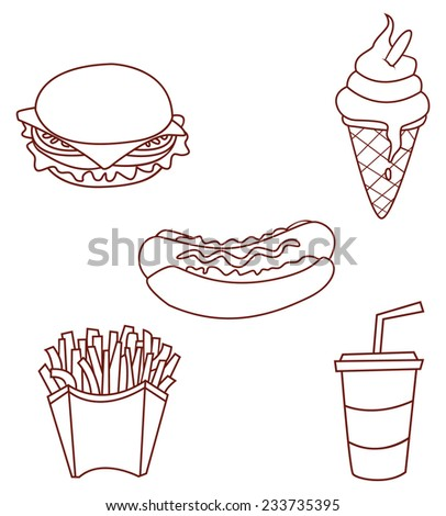 Fast Food Object Collection Hand Drawn Sketch Doodle - stock vector