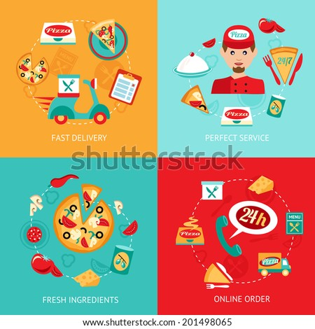 Fast food pizza delivery perfect service fresh ingredients online order decorative icons set isolated vector illustration - stock vector