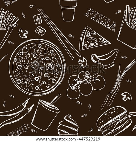 fast food, pizza, menu , drawing with chalk on a blackboard, pattern , vector