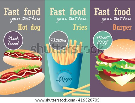 Fast Food Poster with Burger, Hot Dog, French Fries. Vector Illustration.