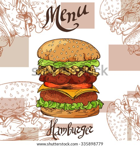 Fast food poster with hamburger. Hand draw retro illustration. Vintage burger design. Template - stock vector