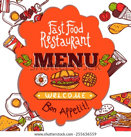 Fast food restaurant colored menu with sketch dishes drinks and French text for enjoy your meal vector illustration