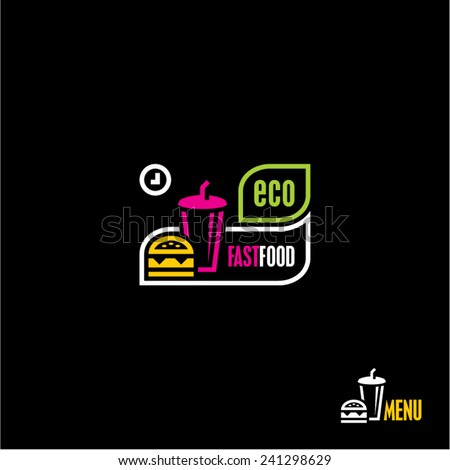 Fast food restaurant icon. Eco food. - stock vector