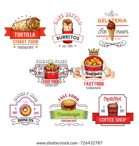 Fast Food Restaurant Icons Templates Vector Stock Vector 726432787 ...