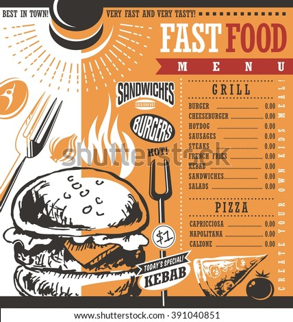 Fast food restaurant menu design idea. Vintage drawing fast food menu design. Retro price list for diner or snack bar. Burgers ad layout. Document template. Junk food menu cover layout. - stock vector