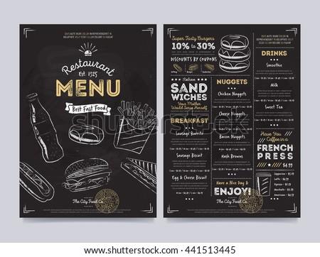 Fast food restaurant menu design template vector illustration elements. Fast food hand drawn sign vintage style. Fast food meal. Cover of restaurant menu. Fast food flyer. Pizza, burger, drink - stock vector