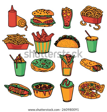 Fast food  restaurant menu icons collection with taco wrap and double cheeseburger abstract color isolated vector illustration - stock vector