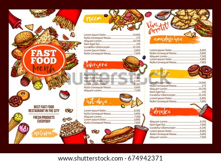 Fast Food Restaurant Menu Template. Lunch Dishes And Drinks List With  Prices And Burger,  Lunch Menu Template