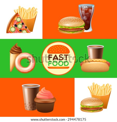 Fast food restaurant menu with pizza and hot djg flat horizontal banners set abstract isolated vector illustration - stock vector