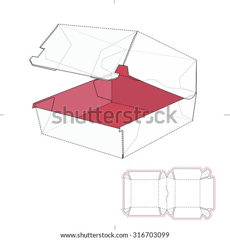 Fast Food Sandwich Burger Box with Die Line Template - stock vector