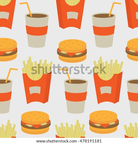 Fast food seamless background. Vector illustration.