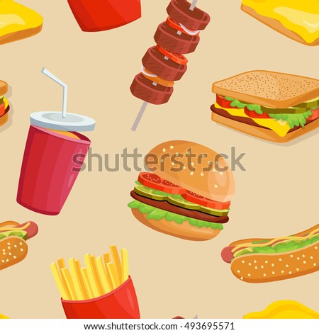 Fast food seamless pattern hamburger and French fries vector Template background illustration.