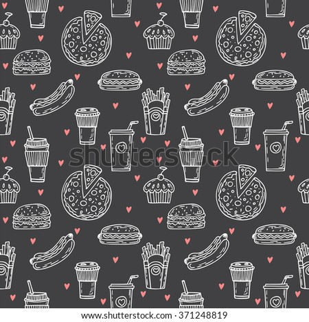 Fast food seamless pattern. Hand drawn food background. Background template for restaurant design. Hot dog, hamburger, pizza, cupcake, coffee. Vector illustration