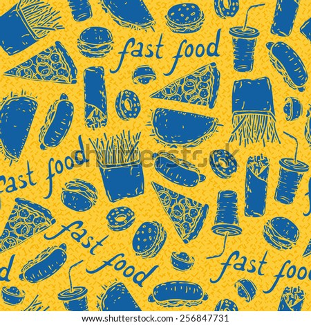 Fast Food seamless pattern. Vector illustration. Yellow and blue - stock vector