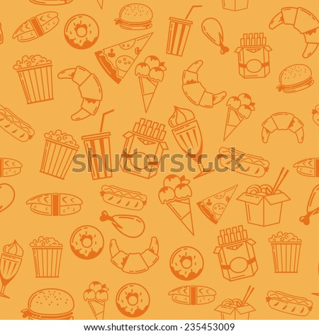 Fast Food seamless pattern. Vektor - stock vector