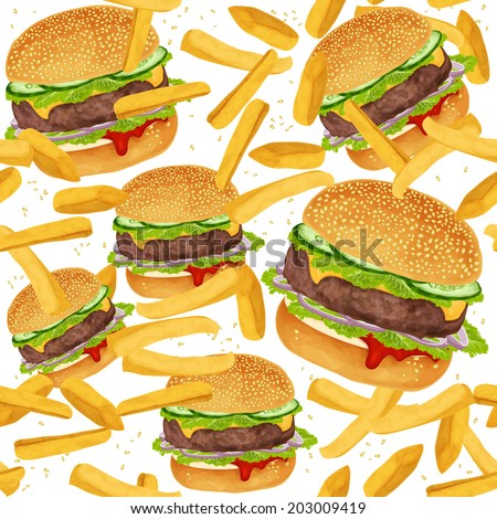 Fast food seamless pattern with hamburger and French fries vector illustration