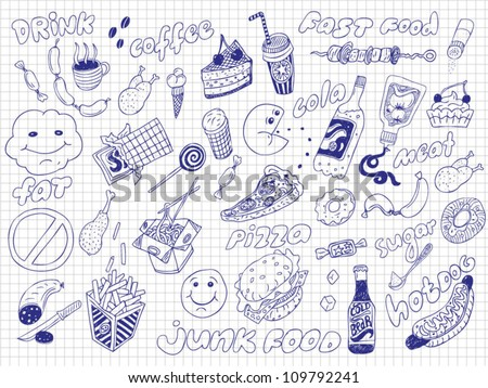 Fast Food Set - stock vector