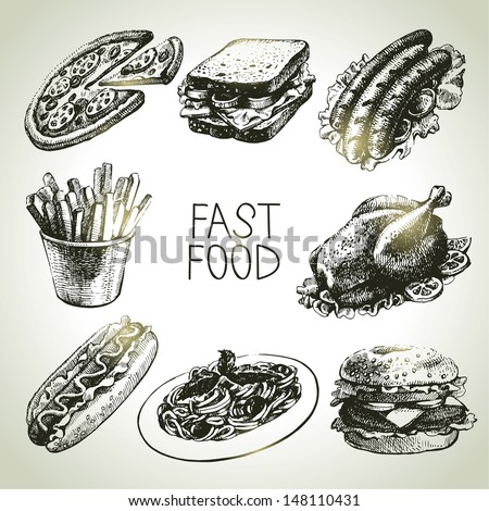 Fast food set. Hand drawn illustrations  - stock vector