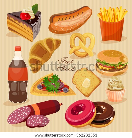 Fast food. Set of junk food. Cake, hot dog, donuts, fizzy, soda, burger, pizza, roll. - stock vector