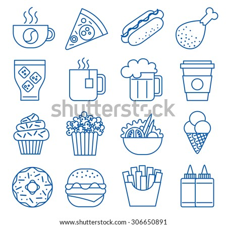 Fast food. Set of line icons. Vector illustration - stock vector