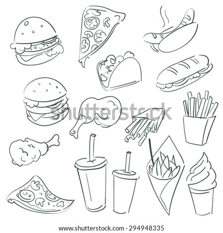 Fast food set or collection. Food and drinks. - stock vector