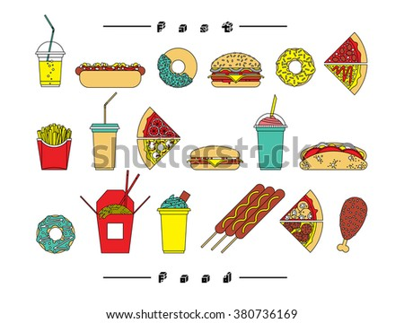 Fast food set. Vector fast food icons. Isolated fast  food. Fast food line icons set. - stock vector