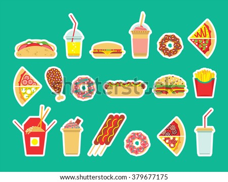 Fast food set. Vector fast food icons. Isolated fast  food. Flat fast food icons set.