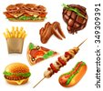 Fast food set vector icons - stock vector