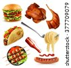 Fast food, set vector icons - stock vector