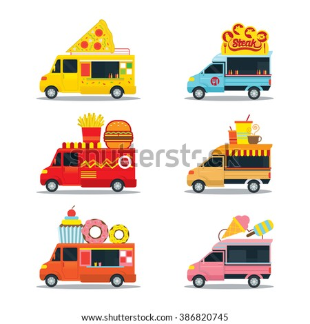 Fast Food Shop, Truck, Pizza, Burger, Steak, Donut, Ice Cream and Drinks
