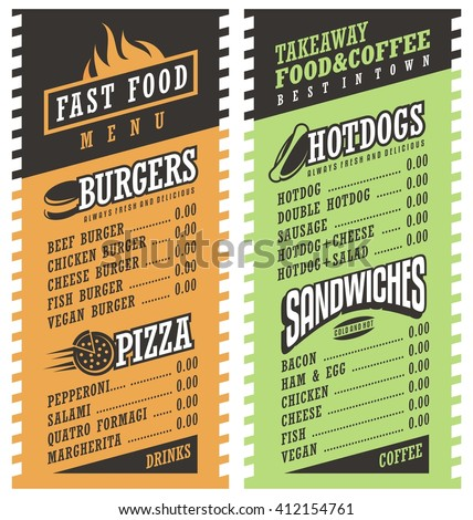 Fast Food Simple Menu Design Template Stock Vector