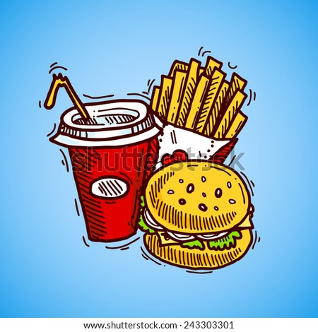Fast food sketch decorative icon set with drink french fries and hamburger vector illustration - stock vector