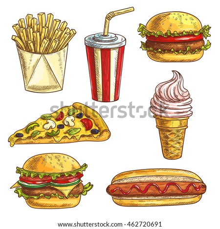 Fast food sketch icons set. Isolated elements of burger, hamburger, cheeseburger, soda drink in cup, ice cream cone, pizza slice, hot dog, french fries in box