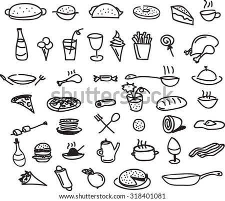 fast food sketch icons vector - stock vector