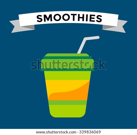 Fast food smoothie drinks glass. Fruit drink logo icon template. Fresh juice, coke drink, vegetarian drinks, cold water, objects. Food logo, drinks logo, drinks icon, soda glass, drink, soup, coktaiil - stock vector