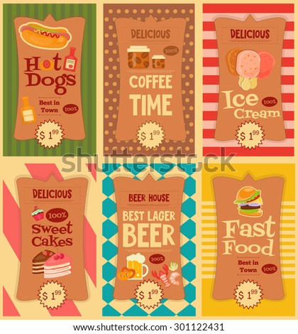 Fast Food Stickers Collection. Mini Posters Set. Vector Illustration. - stock vector