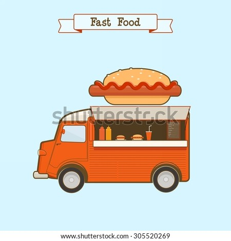 Fast food  truck - stock vector