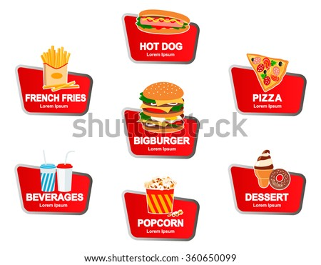 Fast food typographic design label or sticker, sign - burgers, pizza, hot dog, fries, desserts, drinks - template. Vector illustration. - stock vector