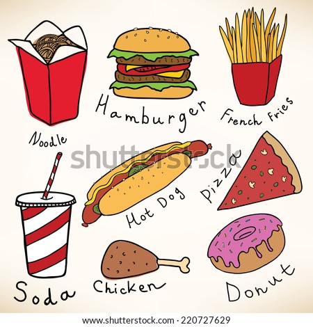 Fast food vector collection - stock vector