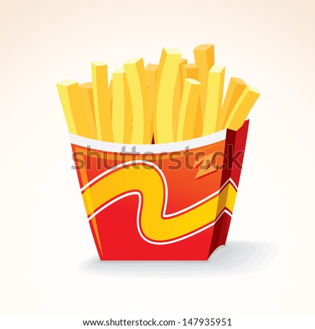 Fast Food Vector Icon. French Fries Potato in Bucket. - stock vector