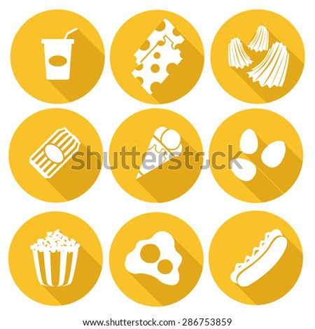 Fast food vector icon set