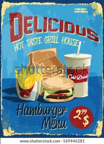 fast food vector illustration.vintage menu sign. - stock vector