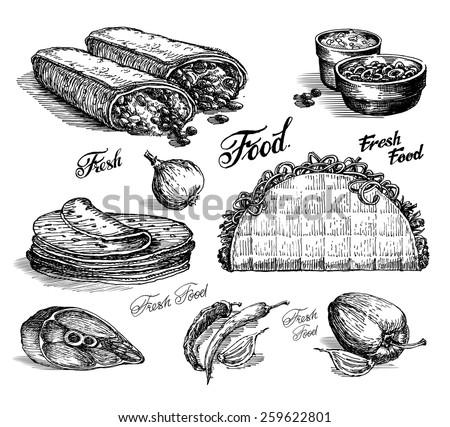 fast food vector logo design template. burritos or tacos icon. - stock vector