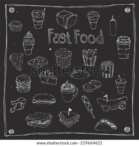 Fast Foods draw 25 Item - stock vector