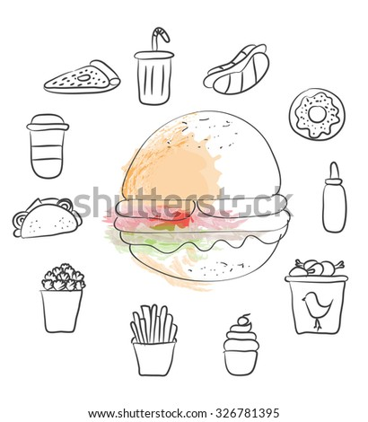 fast foods vector set
