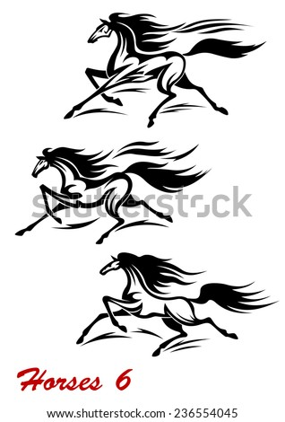 Fast galloping horses and mustangs in vector with flying manes and tails for equestrian sports design - stock vector