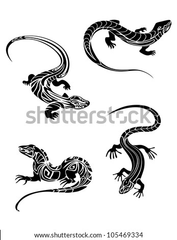 fast lizards black color tribal style stock vector 105469334
