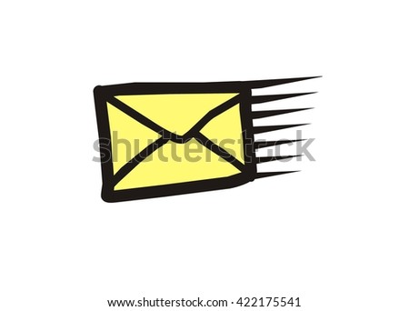 fast mail icon, doodle style - stock vector