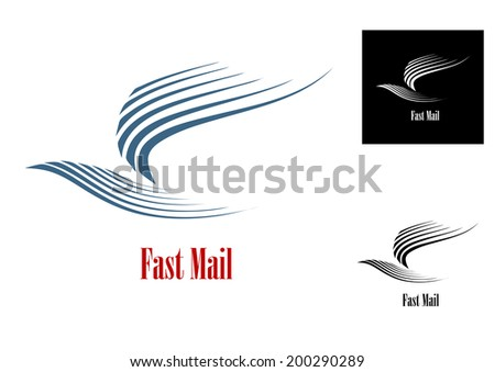 Fast mail symbol with blue dove bird logo and text in three variations for post or delivery business concept - stock vector