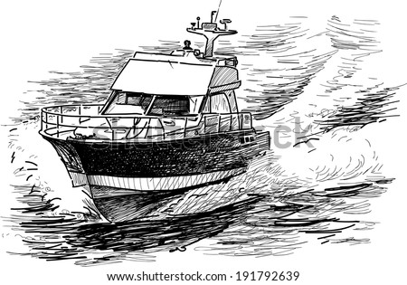 fast motorboat - stock vector
